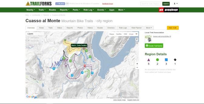 La pagina di Cuasso al Monte su TrailForks